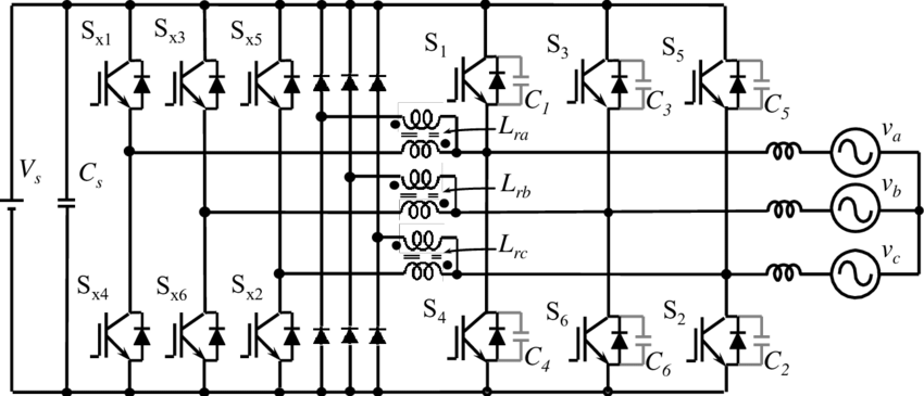 11 Circuit diagram of a three-phase coupled magnetic type