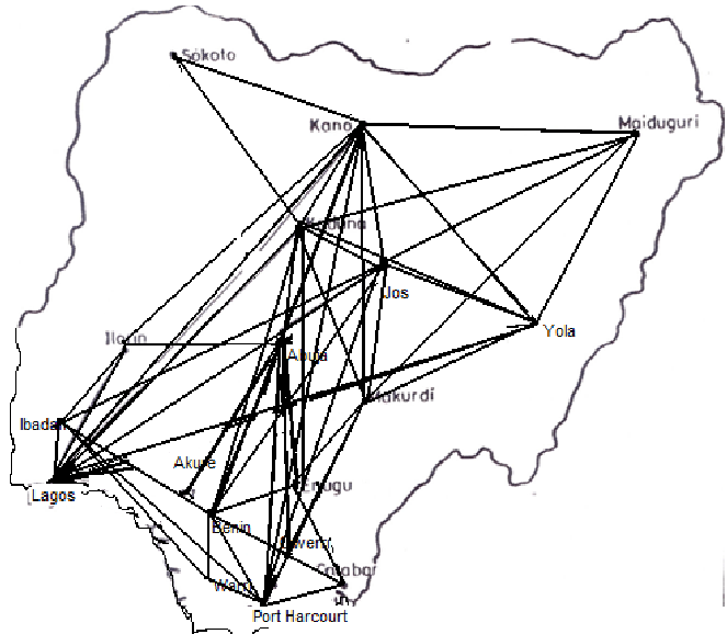 Minor domestic air routes in Nigeria. Source: Field work
