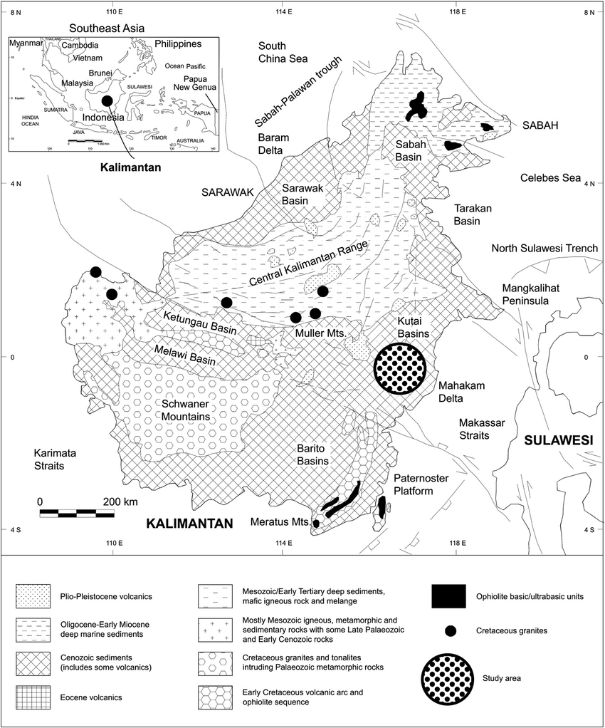 Simplified geology of Kalimantan (modified from Moss and
