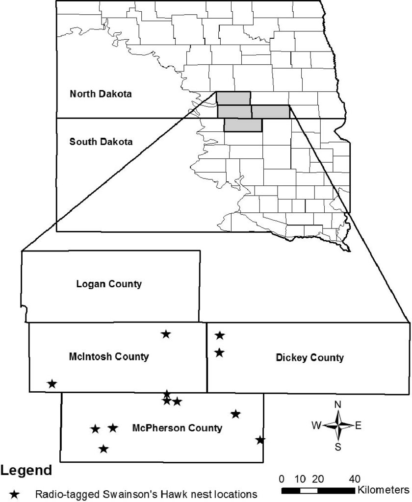 hight resolution of swainson s hawk spatial ecology study area in south central north dakota and north central