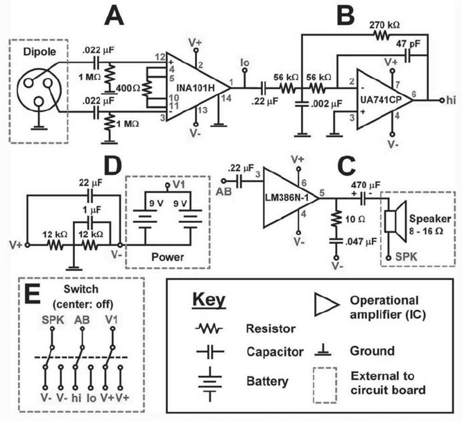 Circuit plan for Electric Fish Finder. See text for