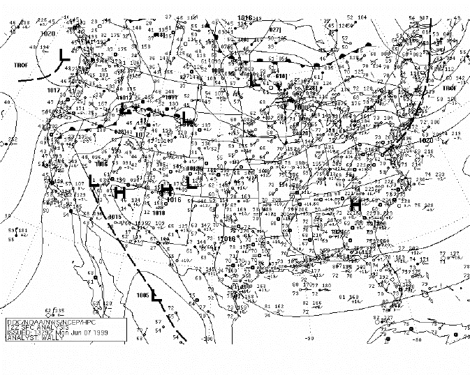 National Weather Service surface analysis for 1200 UTC