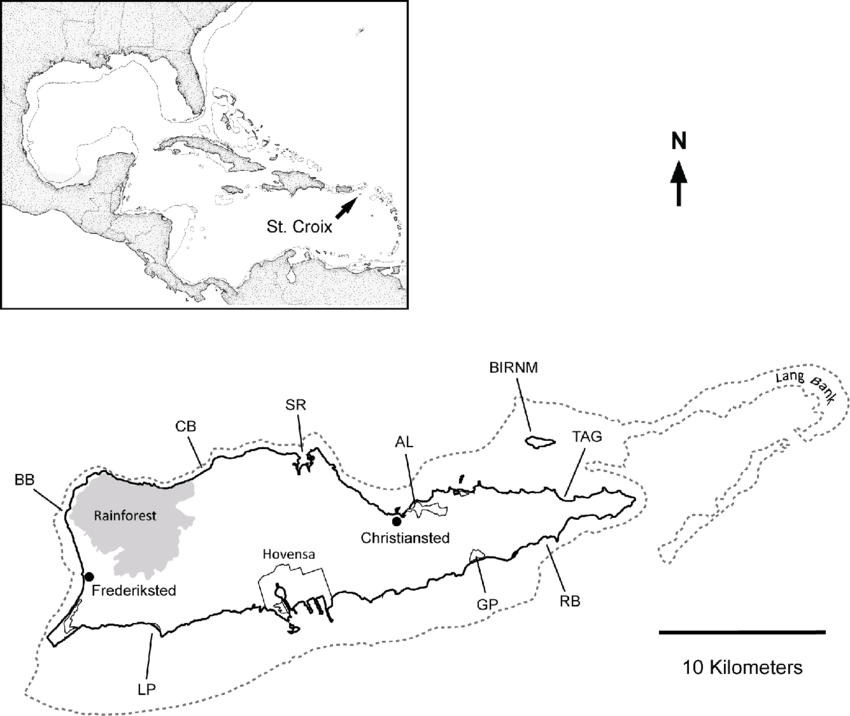 Locations of selected St. Croix landmarks: Butler Bay (BB