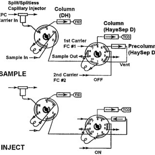 Valve configuration for on-line GC/FID/TCD analysis of