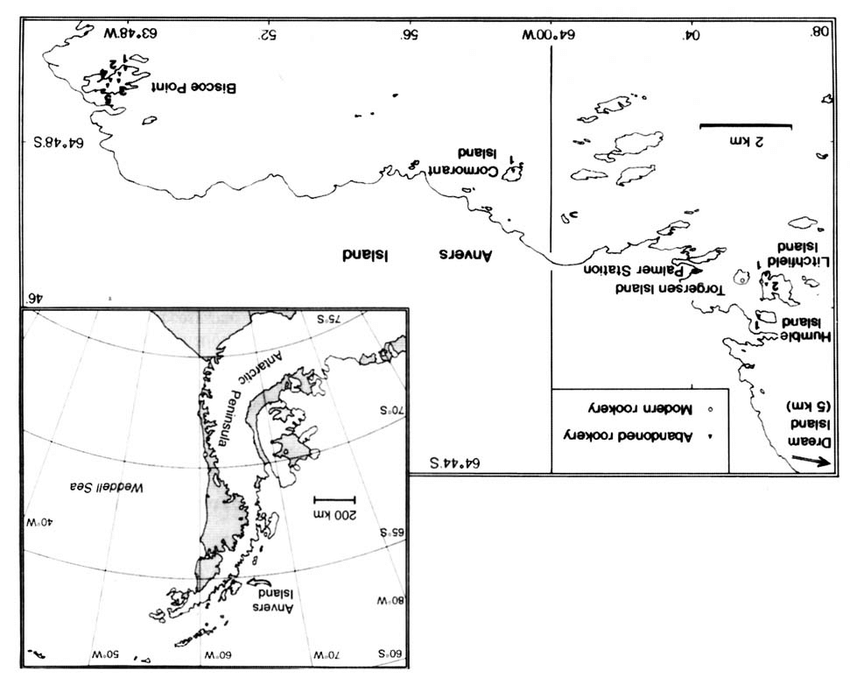 Map of the Palmer Station area, Anvers Island, showing the