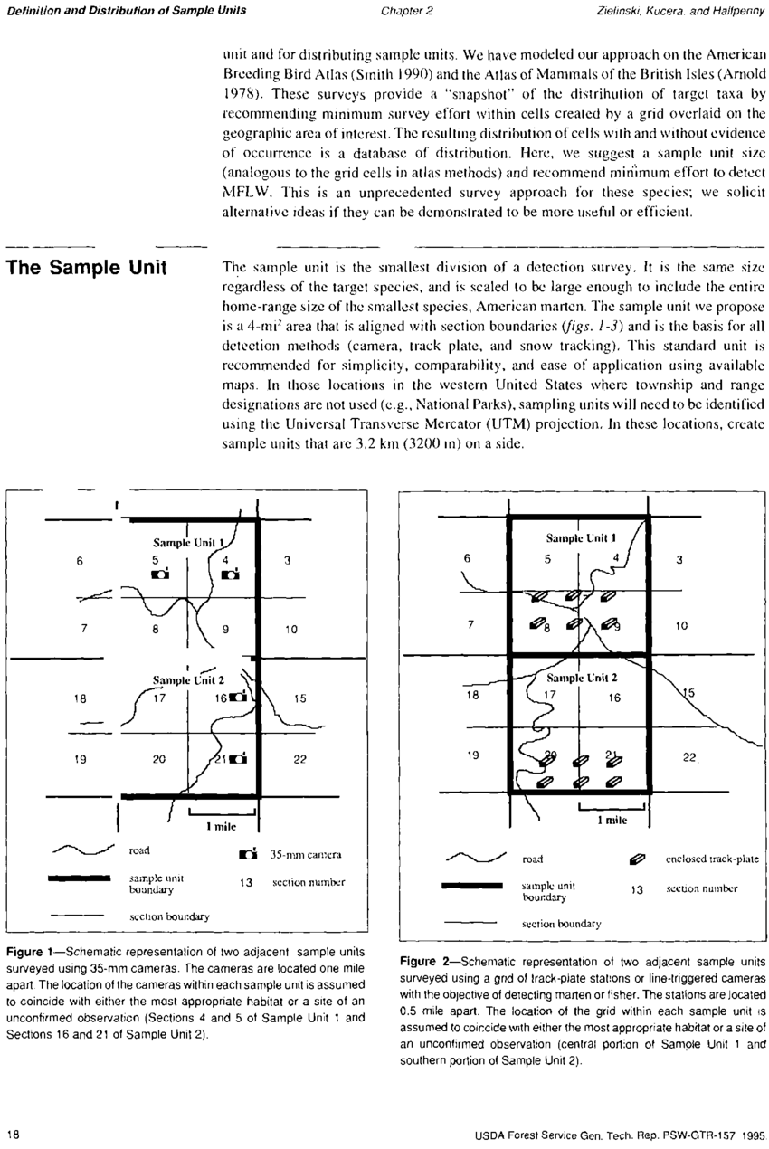 hight resolution of schematic representation of two adjacent sample units surveyed using a grid of track plate stations or line triggered cameras with the objective of