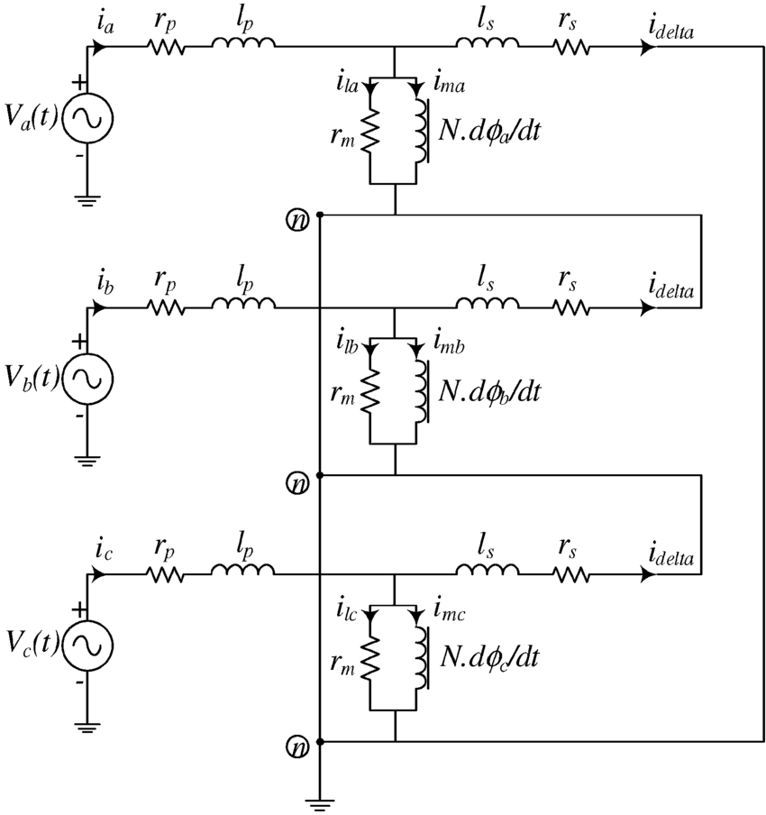 Equivalent electric circuit for a wye-delta transformer