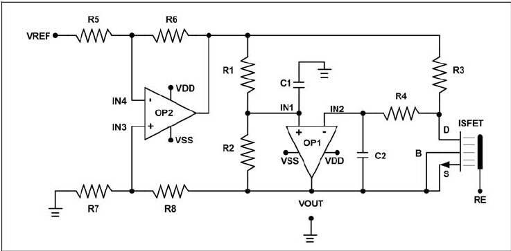 The schematic diagram of ISFET bridge-type readout circuit