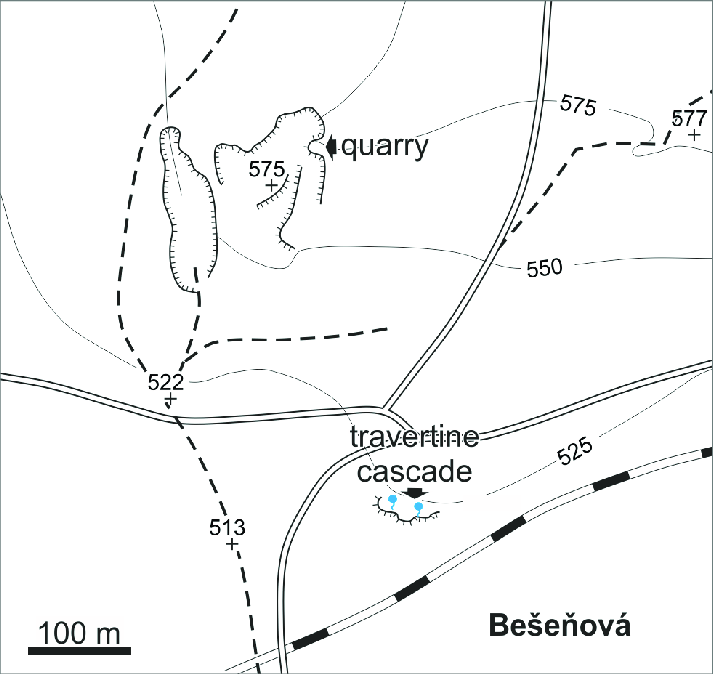 Location of travertine sites (stops 7.1 and 7.2) presented