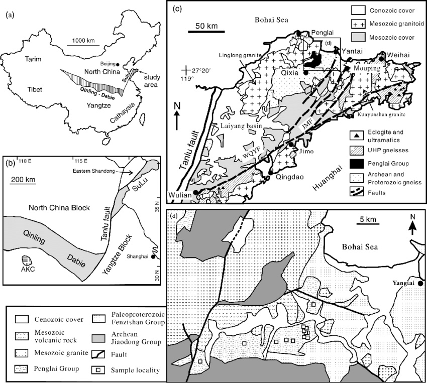 (a) and (b) Sketch maps showing localities of the major