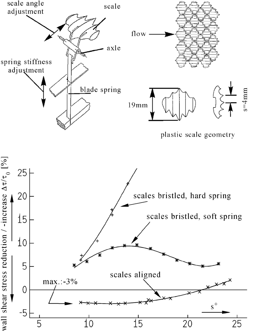 medium resolution of plastic scale suspension and typical wall shear stress data of artificial shark scales