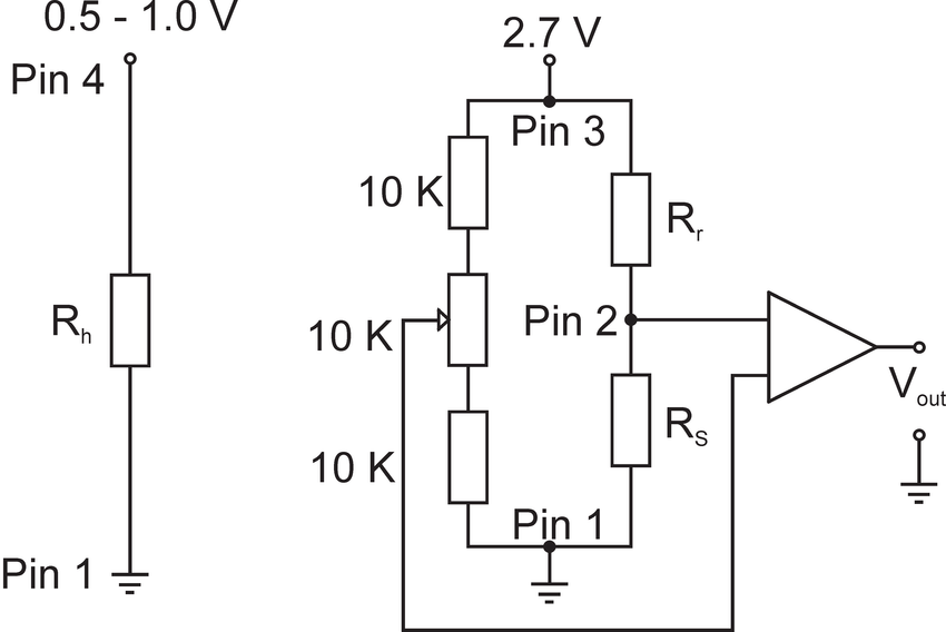 Typical operating circuit of the H 2 sensor with