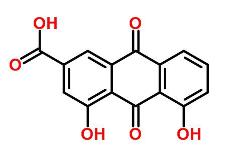 Chemical structure of rhein. ChemSpider ID: 9762