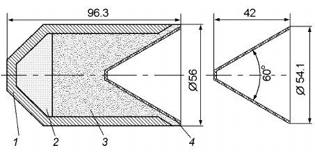 Cross section of the DLSC and its liner: 1) outer layer