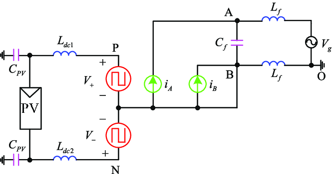 Equivalent circuit diagram of single-phase current source