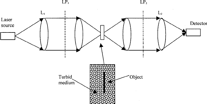 A schematic diagram of a transmission-mode scanning