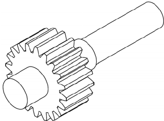 Model of the gear input shaft and gear output shaft