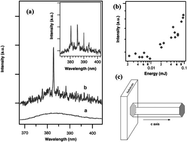 (a) Emission spectra from nanowire arrays below (line a