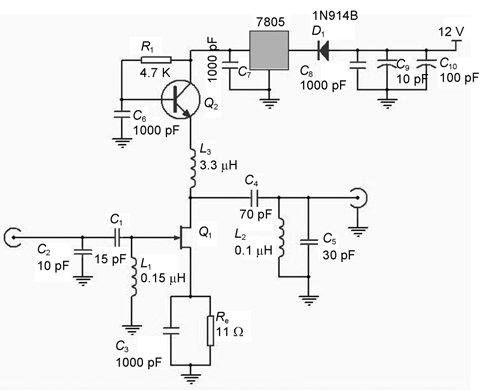 Figure 3 The circuit of the low-noise preamplifier made by