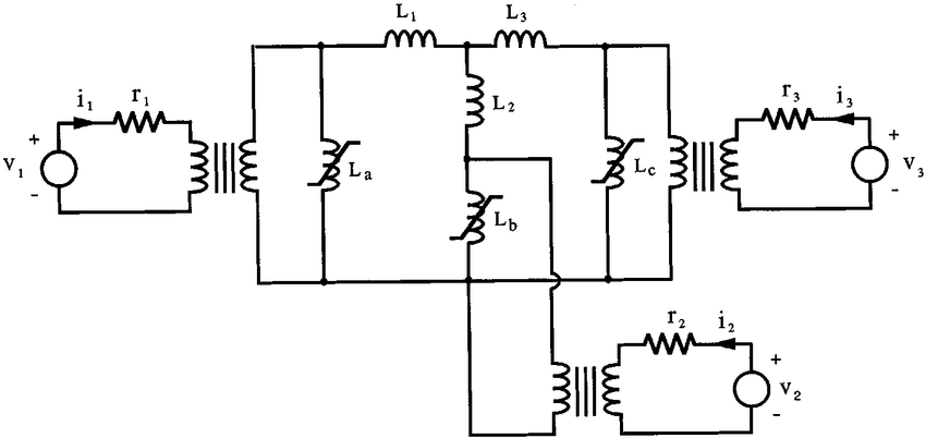 Equivalent circuits of the single-phase three-winding