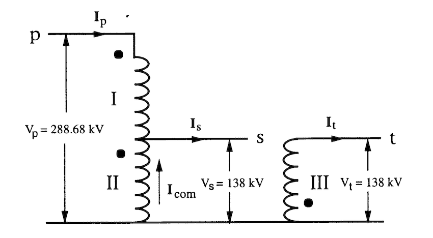 One phase of the step-down conversion autotransformer
