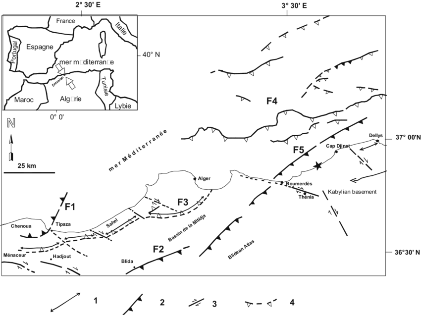Map of active faults of the wider region of Algiers