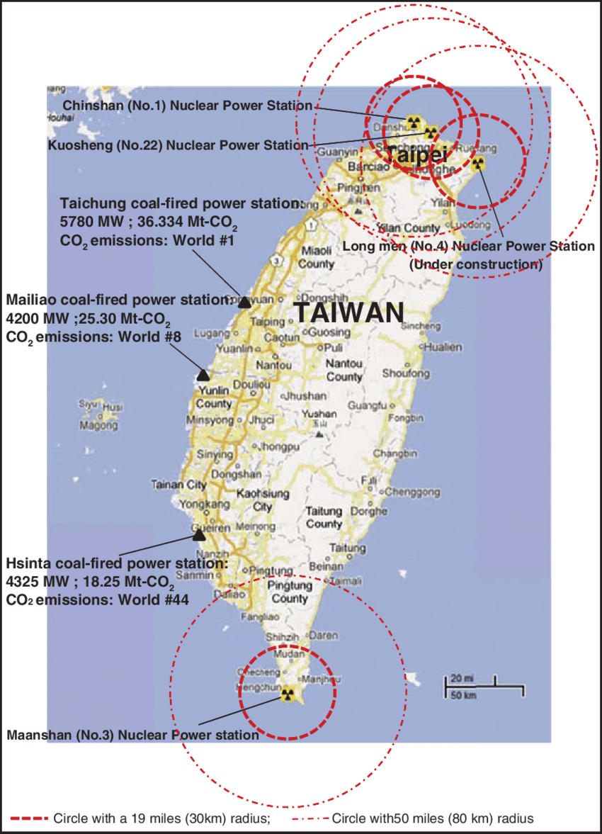 hight resolution of nuclear power stations and top three coal fired power stations in taiwan source