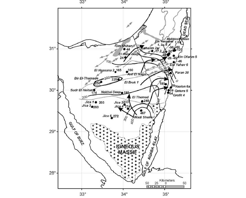 Groundwater elevation (related to MSL) and inferred flow