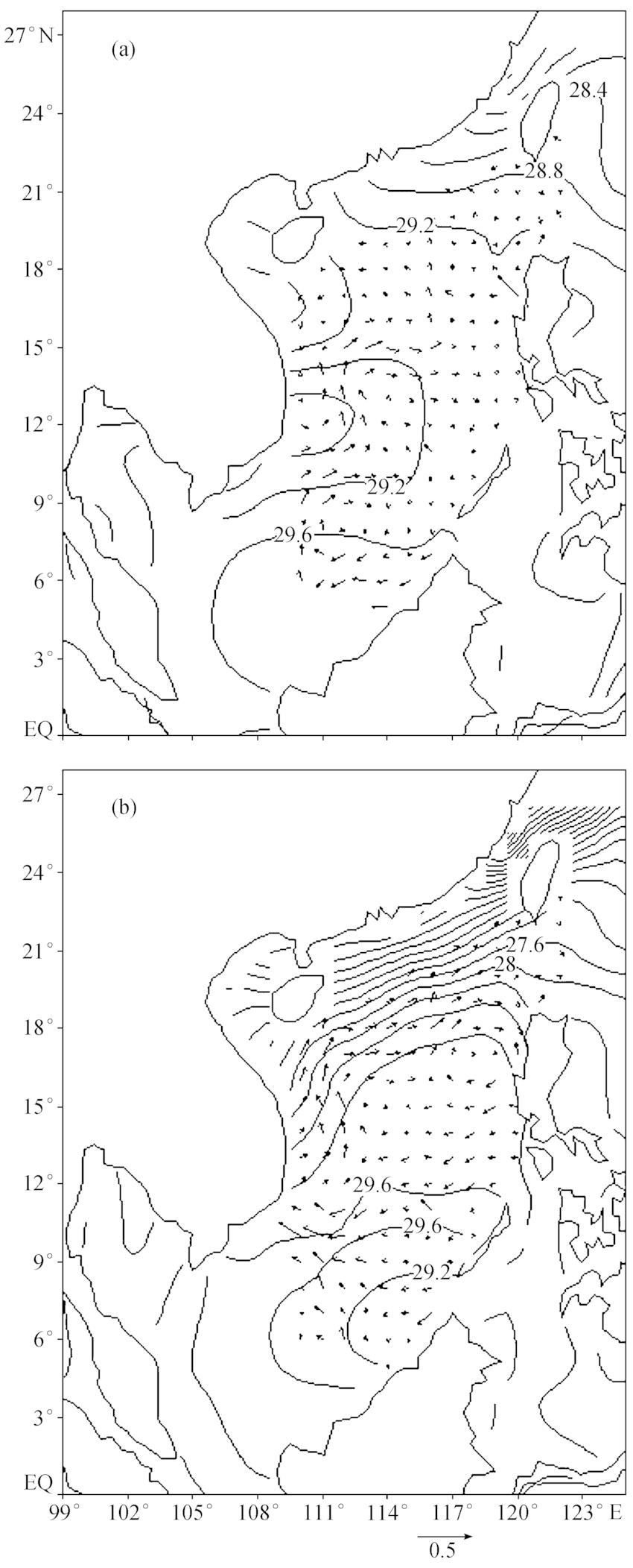 hight resolution of seasonal mean geostrophic current and sst a spring of 1997 b download scientific diagram