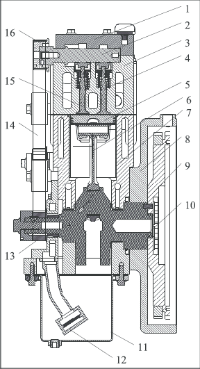 Piston-type CAE. 1: cam cover; 2: camshaft; 3: cylinder