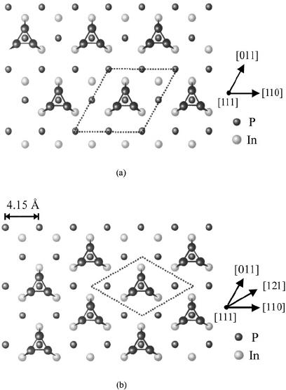 ͑ a ͒ The arsenic trimer model for the (2 ϫ 2) GaAs (111
