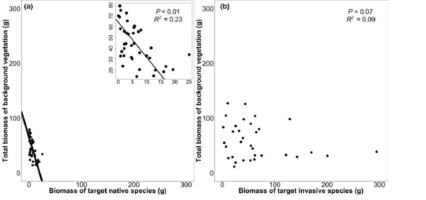 Relationship between the biomass (g dry weight) of target