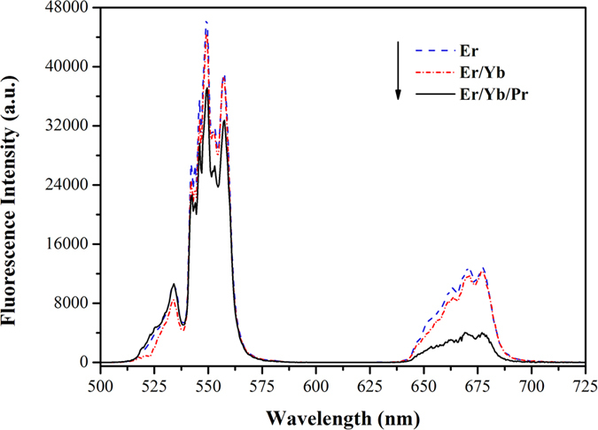 Up-conversion emission spectra of Er3+: SrGdGa3O7, Er3