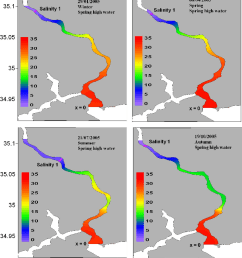 horizontal bottom salinity distribution at high water during spring tide for each season during 2005  [ 850 x 976 Pixel ]