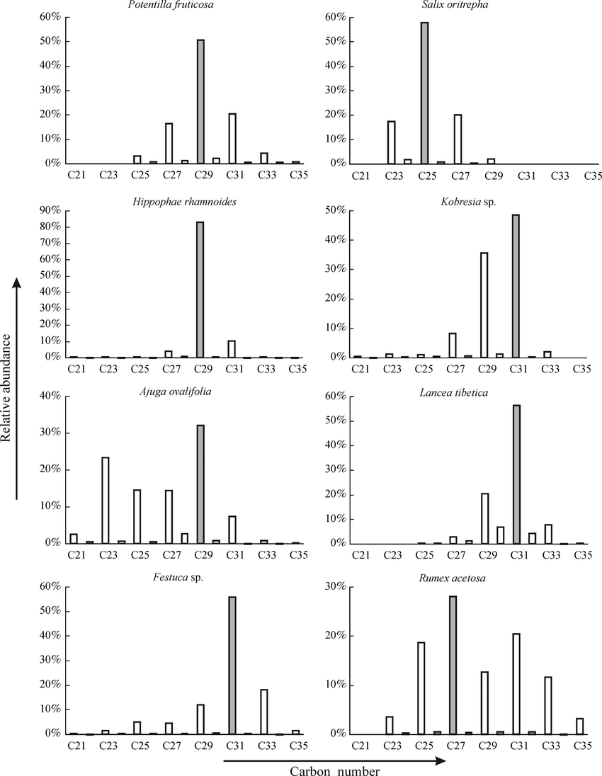 Distributions of the n-alkanes in the leaves of eight