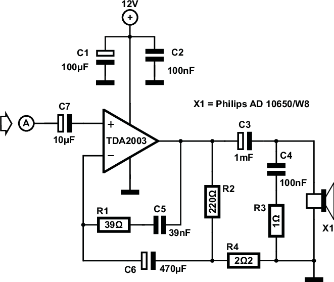 Schematic diagram of the TDA2003 based amplifier circuit