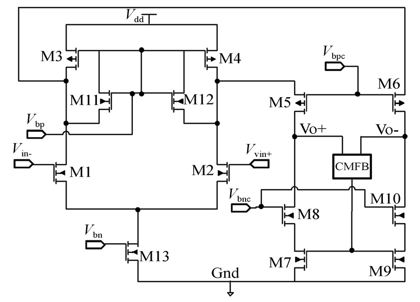 Full differential operational amplifier circuit