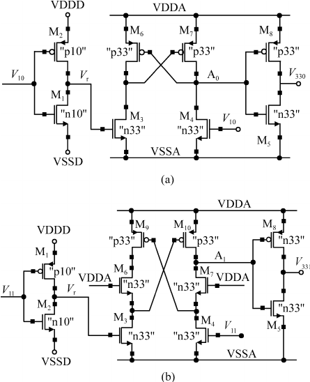 Voltage level shifter. (a) Traditional structure. (b) Low
