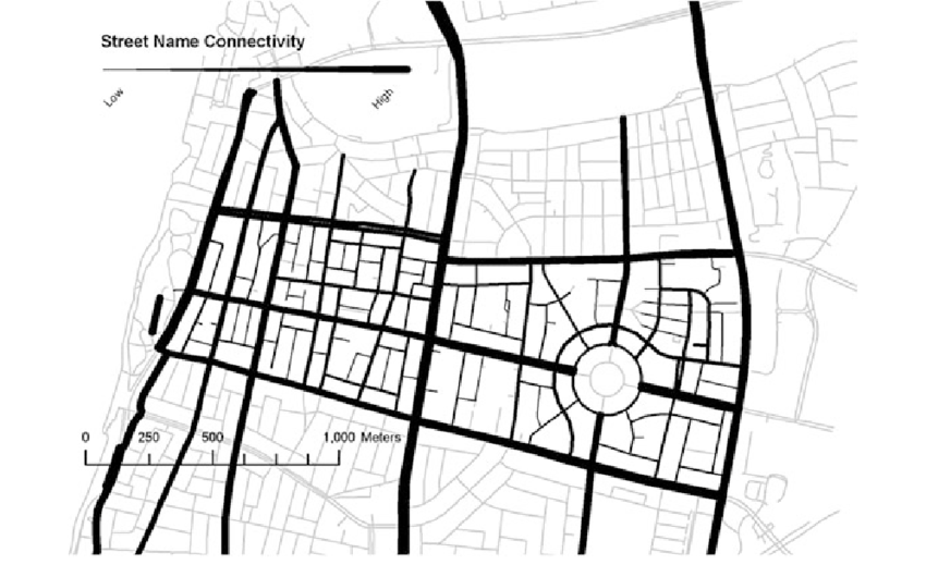 Map of the street name connectivity in the research area