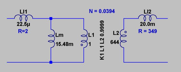 Spice model for inductance of transformer?