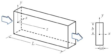 ͑ Color online ͒ Schematic of rectangular duct geometry
