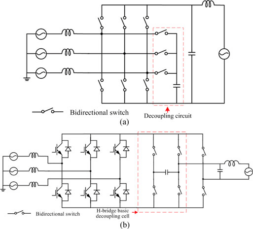 Three-phase to single-phase matrix converter with an