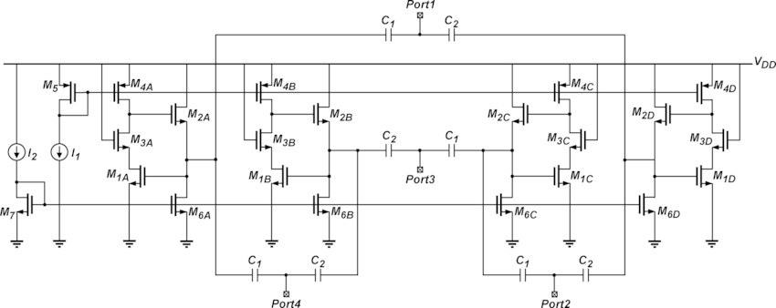 Complete circuit schematic of the fully integrated