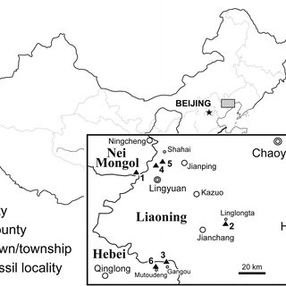 Map of the six main fossil localities that yield the