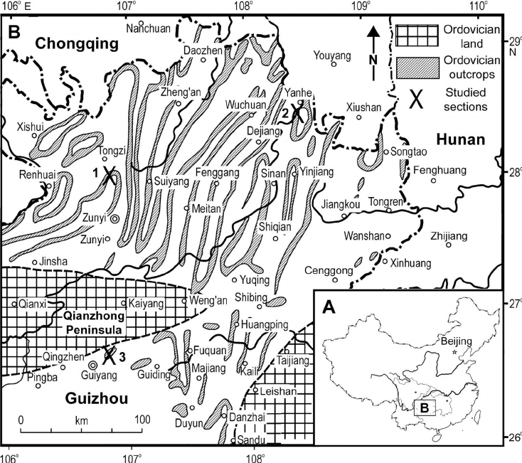 Locality maps of the studied areas. A , Map of China