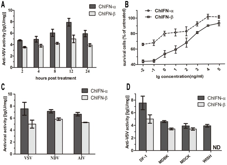 (A) Anti-VSV activities of ChIFNs at different time points