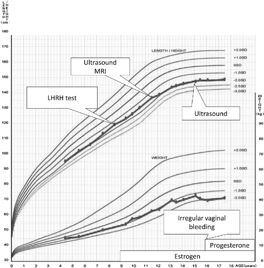 Growth curve and the process of uterus identification in