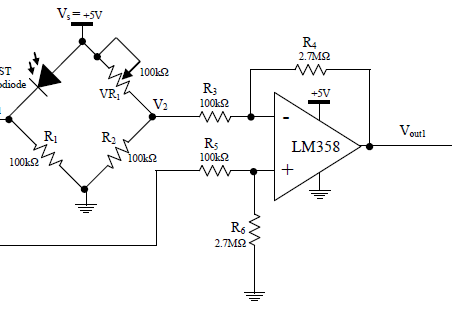 Wheatstone bridge and difference amplifier circuit