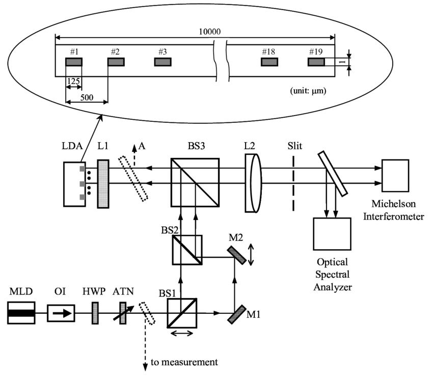 Schematic of experimental setup. LDA: laser diode array