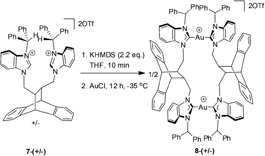 Scheme 1 Synthesis of the chiral digold metallamacrocycle